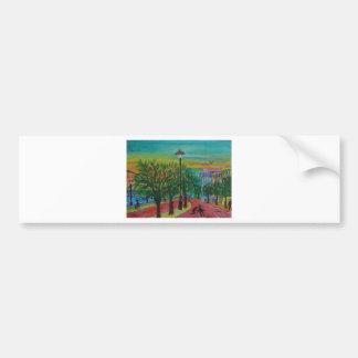 Árboles en el muelle etiqueta de parachoque