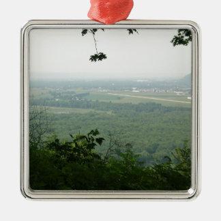 Árboles en el parque de estado de Wyalusing - Adorno Navideño Cuadrado De Metal