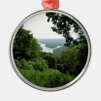 Árboles en el parque de estado de Wyalusing - río Adorno Navideño Redondo De Metal