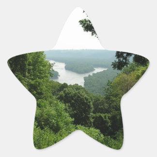 Árboles en el parque de estado de Wyalusing - río Pegatina En Forma De Estrella