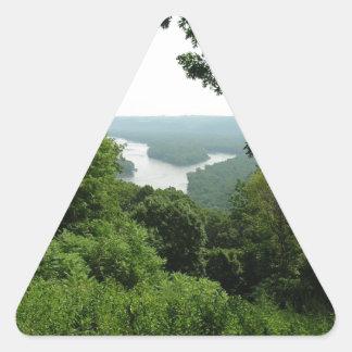 Árboles en el parque de estado de Wyalusing - río Pegatina Triangular