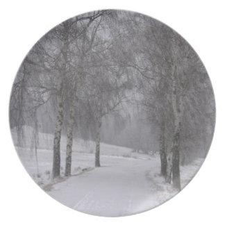 Árboles en invierno platos para fiestas