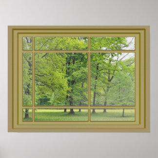árboles en la opinión de la ventana del parque posters