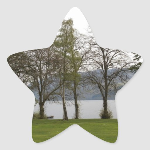 Árboles en la orilla de Loch Ness Calcomania Forma De Estrella