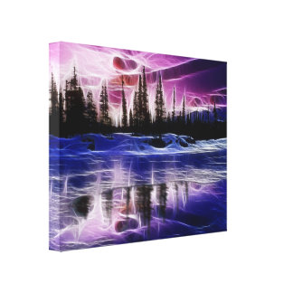 Árboles en lona envuelta paisaje de la nieve impresiones de lienzo