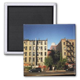 Árboles entre los edificios, ciudad del alfabeto,  imán de nevera