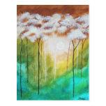 Árboles flacos del paisaje del arte de la luz postal