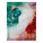 Árboles flacos encantados del paisaje del arte postal