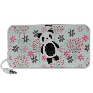 Árboles, flores, y osos de panda mini altavoz