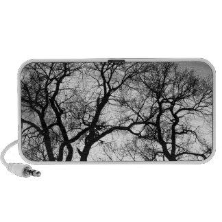 Árboles forestales del baile en blanco y negro altavoz