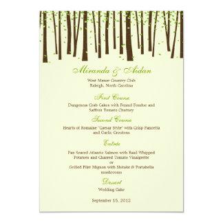 """Árboles forestales que casan la tarjeta del menú - invitación 5"""" x 7"""""""