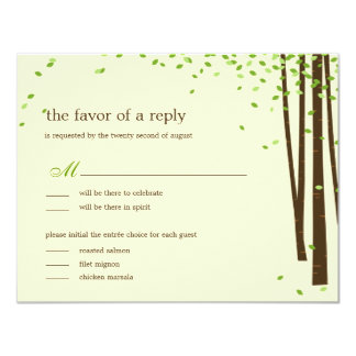 """Árboles forestales que casan las invitaciones - invitación 4.25"""" x 5.5"""""""