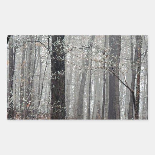 Árboles Frost Pegatina Rectangular