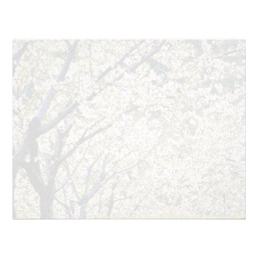árboles frutales blancos en la floración, flo de H Plantilla De Membrete