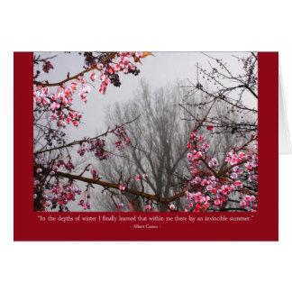 Árboles frutales del invierno tarjeta de felicitación