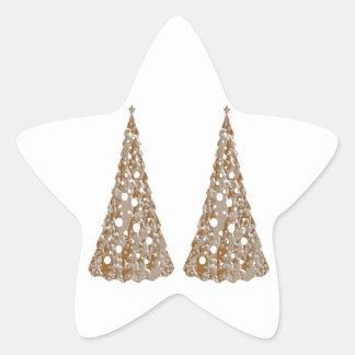 Árboles grabados oro de plata de n LightShow Pegatina En Forma De Estrella