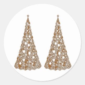Árboles grabados oro de plata de n LightShow Pegatina Redonda