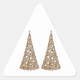 Árboles grabados oro de plata de n LightShow Pegatina Triangular