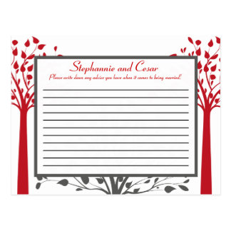 Árboles grises/rojos del consejo del invierno prog postal