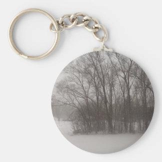 Árboles hivernales llavero redondo tipo pin