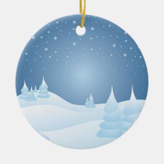 Árboles inclinados nieve adorno navideño redondo de cerámica