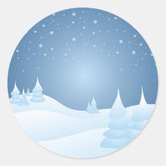 Árboles inclinados nieve pegatina redonda