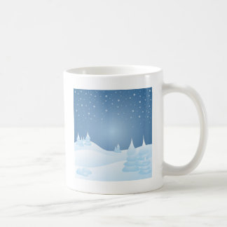 Árboles inclinados nieve taza de café