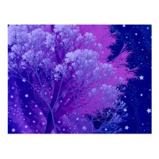 árboles locos azules postal