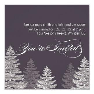 """Árboles modernos grises de las invitaciones del invitación 5.25"""" x 5.25"""""""