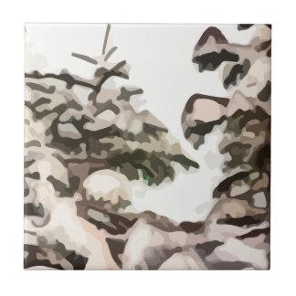 Árboles Nevado en la pintura del invierno Azulejo Cuadrado Pequeño