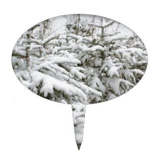 Árboles nevados decoración de tarta