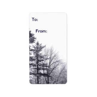 Árboles nevados Etiqueta vertical del regalo Etiquetas De Dirección