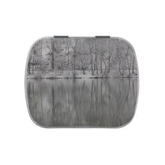 árboles nevados reflejados por el río frascos de caramelos