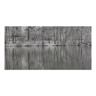 árboles nevados reflejados por el río tarjeta fotografica personalizada