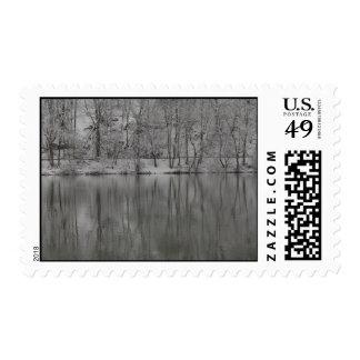 árboles nevados reflejados por el río timbre postal