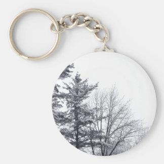 Árboles nevados: Vertical Llavero Redondo Tipo Pin