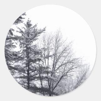 Árboles nevados: Vertical Etiquetas Redondas