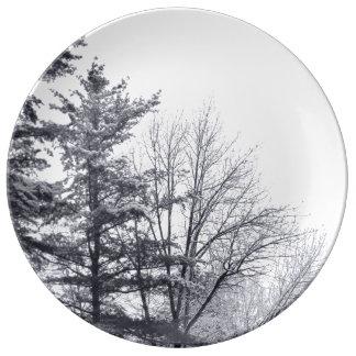 Árboles nevados: Vertical Platos De Cerámica