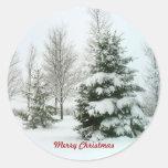 Árboles Nieve-Cargados, Felices Navidad Etiquetas Redondas