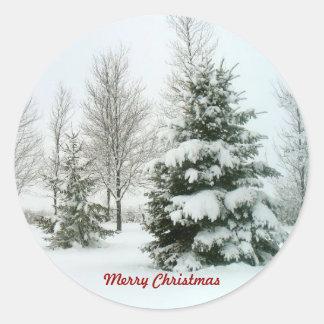 Árboles Nieve-Cargados, Felices Navidad Pegatina Redonda
