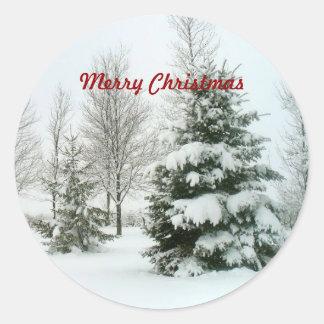 """Árboles Nieve-Cargados, """"Felices Navidad """" Pegatina Redonda"""