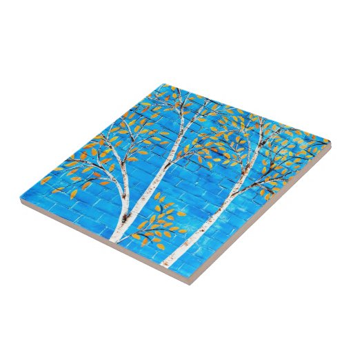 árboles pintados azulejo ceramica
