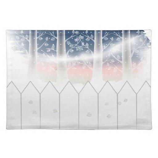 Árboles Placemat del invierno Mantel Individual