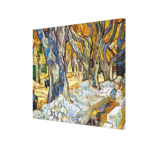 Árboles planos grandes de Vincent van Gogh Impresión En Lona Estirada