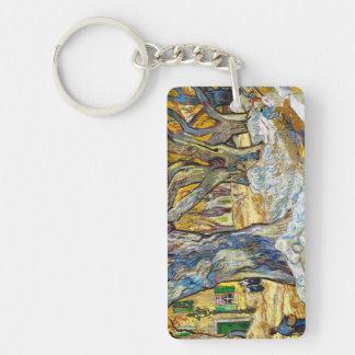 Árboles planos grandes de Vincent van Gogh Llavero Rectangular Acrílico A Doble Cara