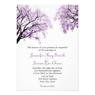 Árboles púrpuras en colores pastel - invitaciones comunicados
