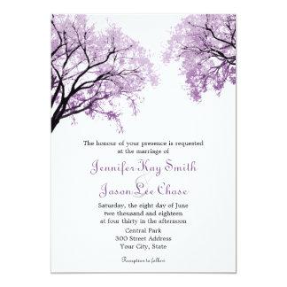 """Árboles púrpuras en colores pastel - invitaciones invitación 5"""" x 7"""""""