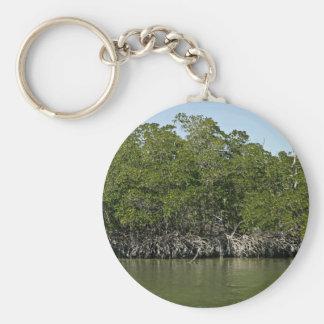 Árboles rojos del mangle en el borde del agua llaveros personalizados