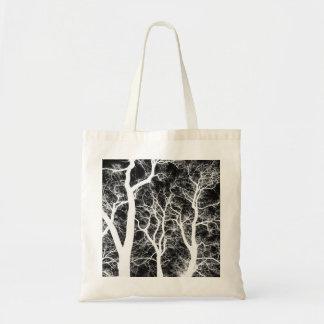 Árboles silueteados blanco bolsa tela barata