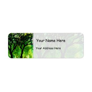 Árboles tallados mano en vetear verde etiqueta de remitente